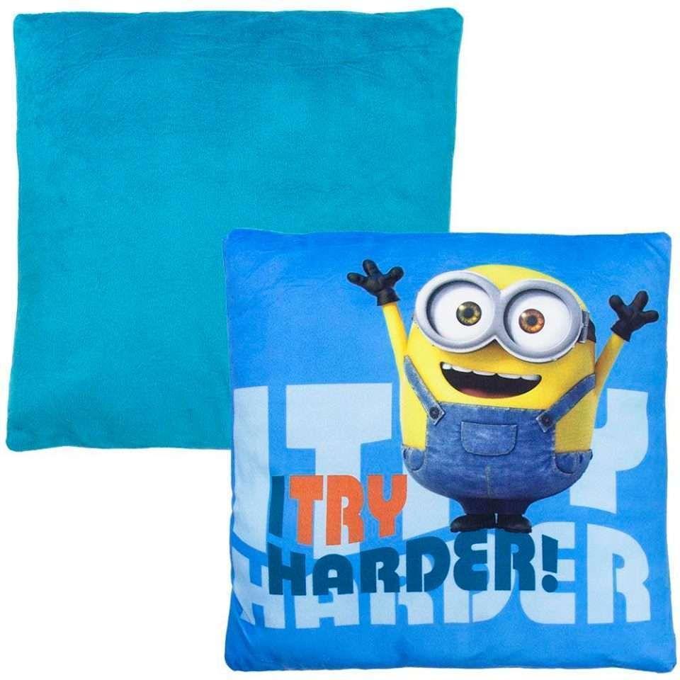 Official Illumination Entertainment Minions I Try Harder pillow in blue