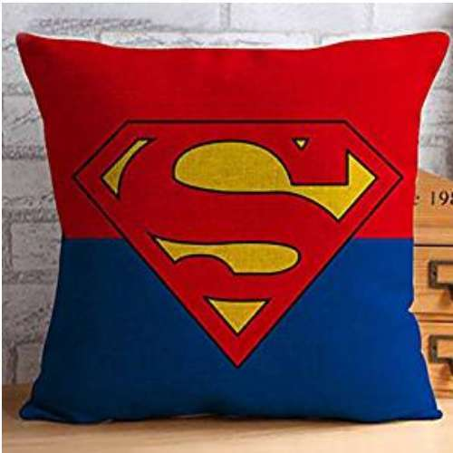 SuperMan shield Printed Cotton Linen Decorative Throw Pillow