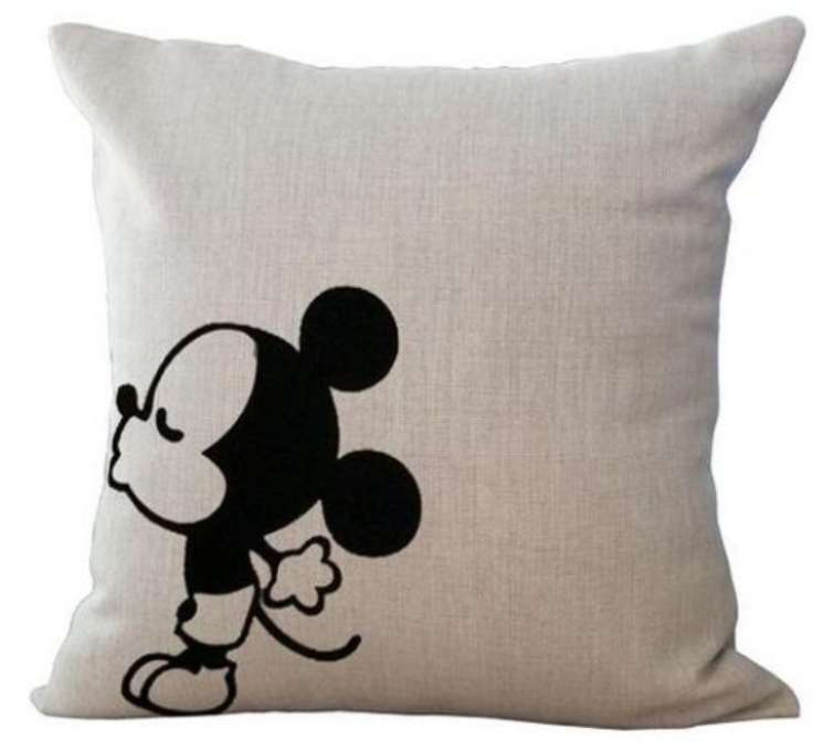 Mickey Mouse Kissing Cushion Cotton Linen Throw Pillow