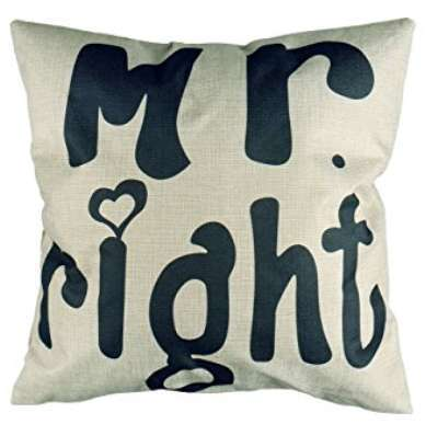 Mr Right Cushion Cotton Linen Throw Pillow