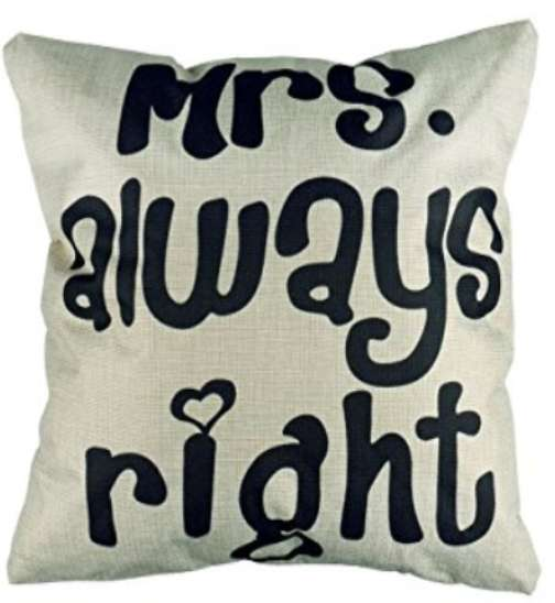 Mrs Always Right Cushion Cotton Linen Throw Pillow