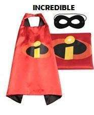 Childrens Incredibles satin cape and felt mask