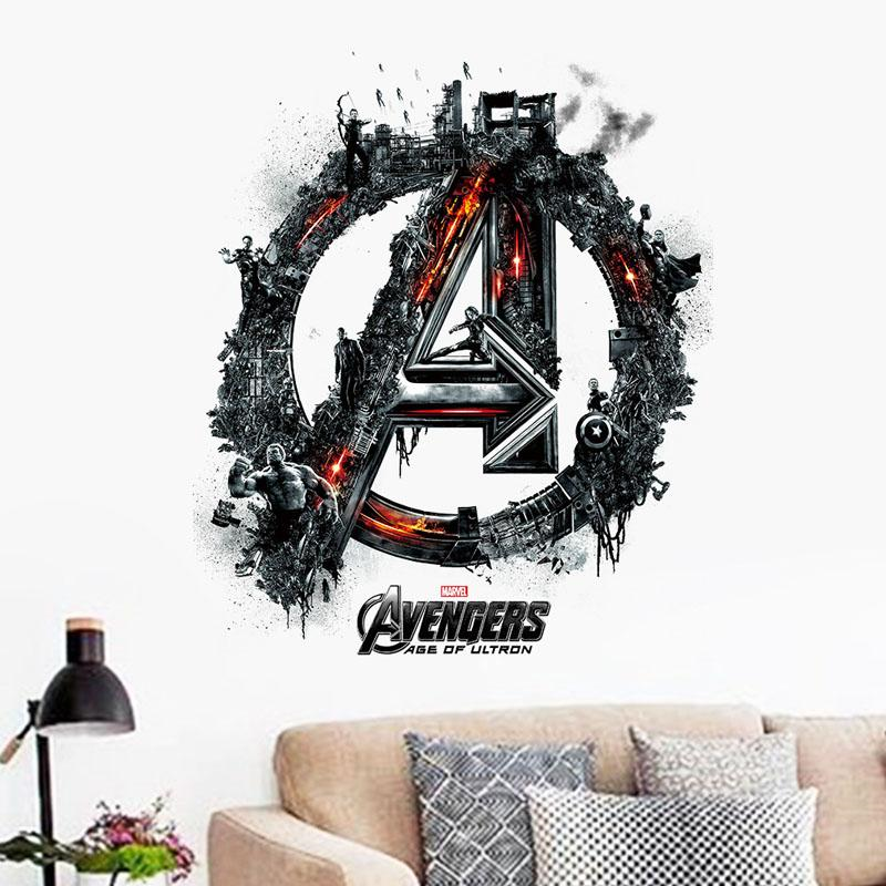 Avengers Logo With Character Scene Wall Art Decal Sticker