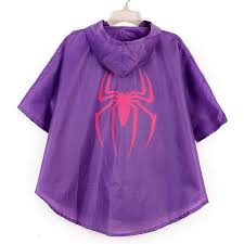 KIDS SPIDERGIRL PONCHO RAINCOAT WITH FREE SUPER HERO BAG