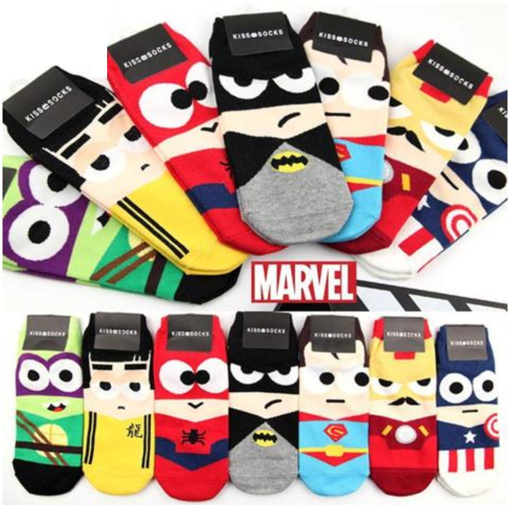 Super Hero 7 Pack Mens and Womens Trainer Socks BATMAN SPIDERMAN CAPTAIN AMERICA WOLVERINE IRONMAN SUPERMAN TURTLES TMNT