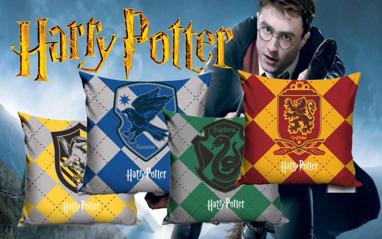 Official Warner Bros Harry Potter Gryffindor, Slytherin, Hufflepuff, Ravenclaw Pillowcase Set Of Four