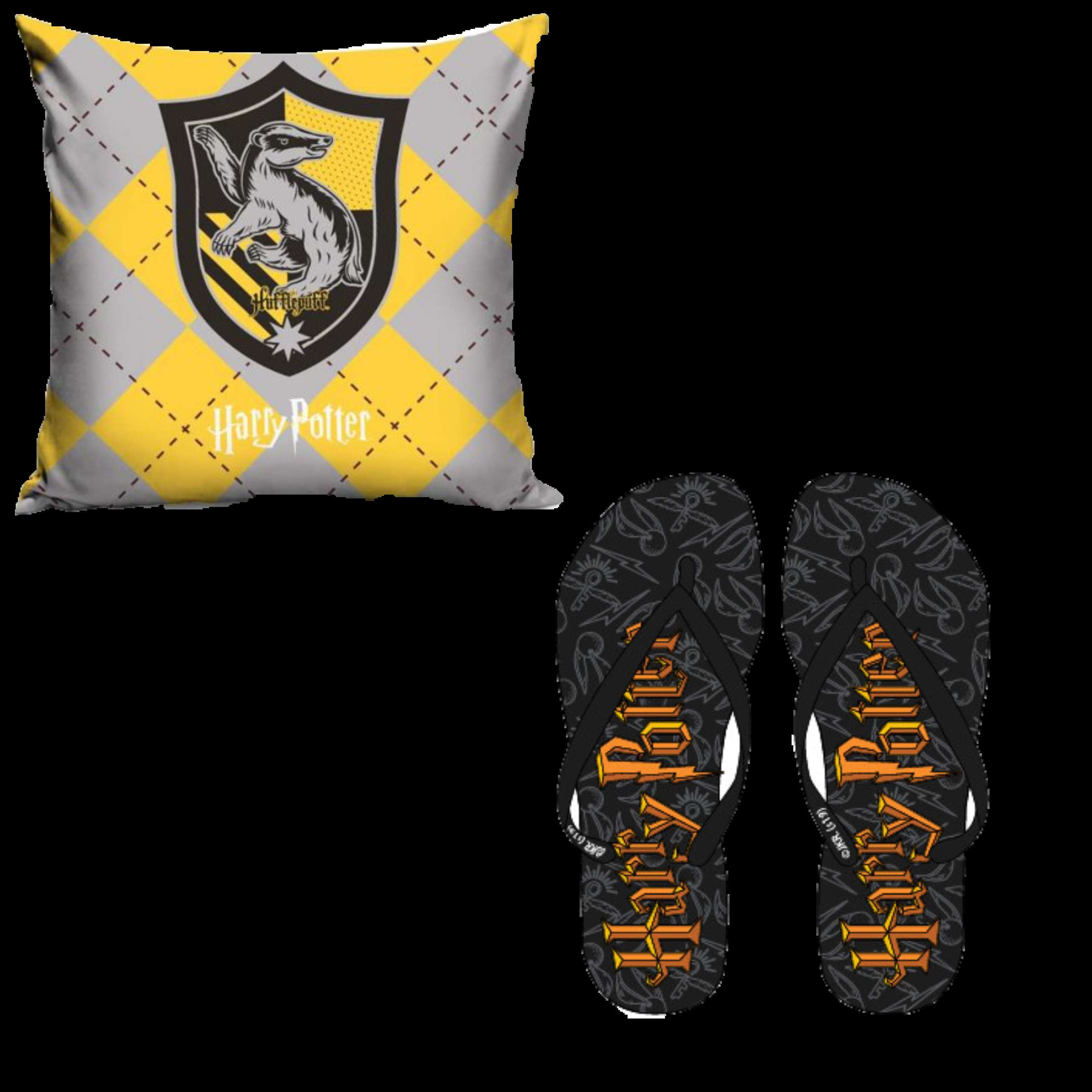 Official Warner Bros Harry Potter Hufflepuff Pillow Case And Flip Flops
