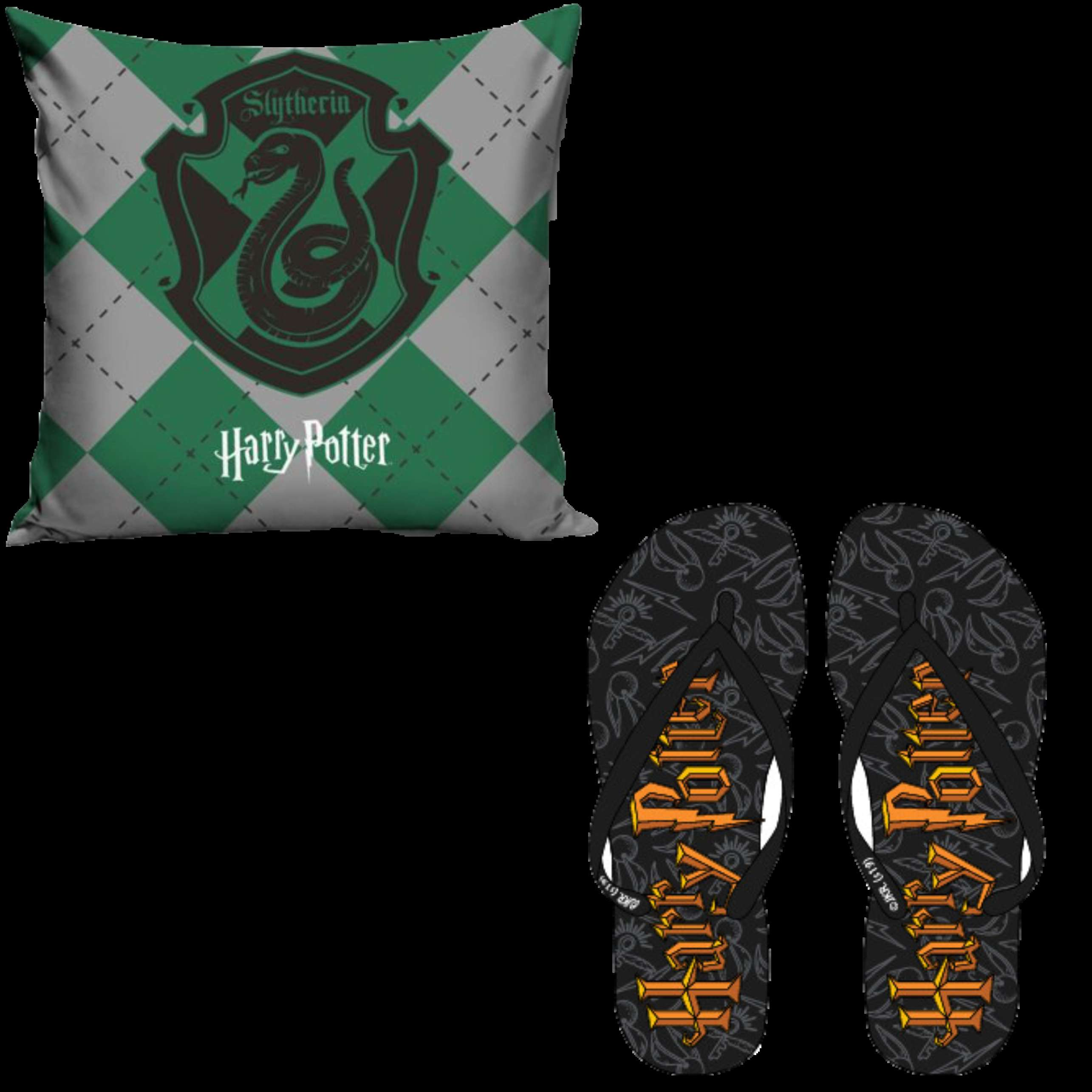 OFFICIAL WARNER BROS HARRY POTTER SLYTHERIN PILLOW CASE AND FLIP FLOPS