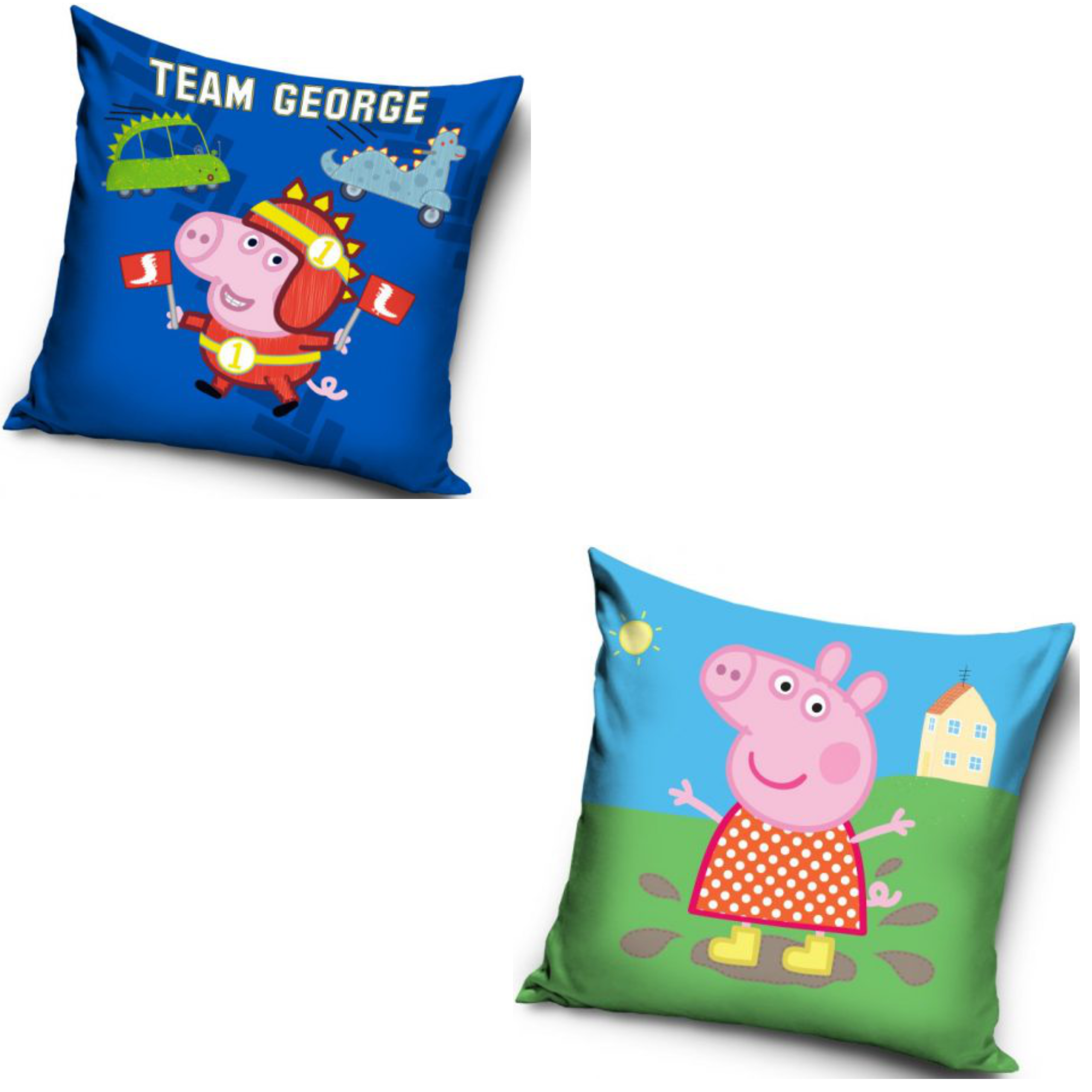 Team George And Peppa Pig In A Muddy Puddle Two Pack Cushion Set